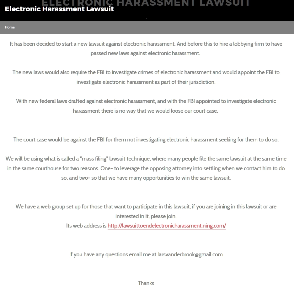 suit to end electronic harassment